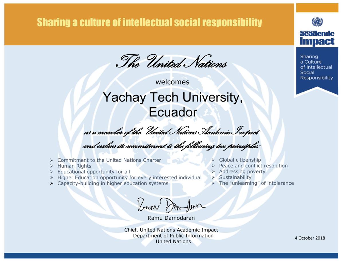 Yachay Tech se une a Impacto Académico de las Naciones Unidas