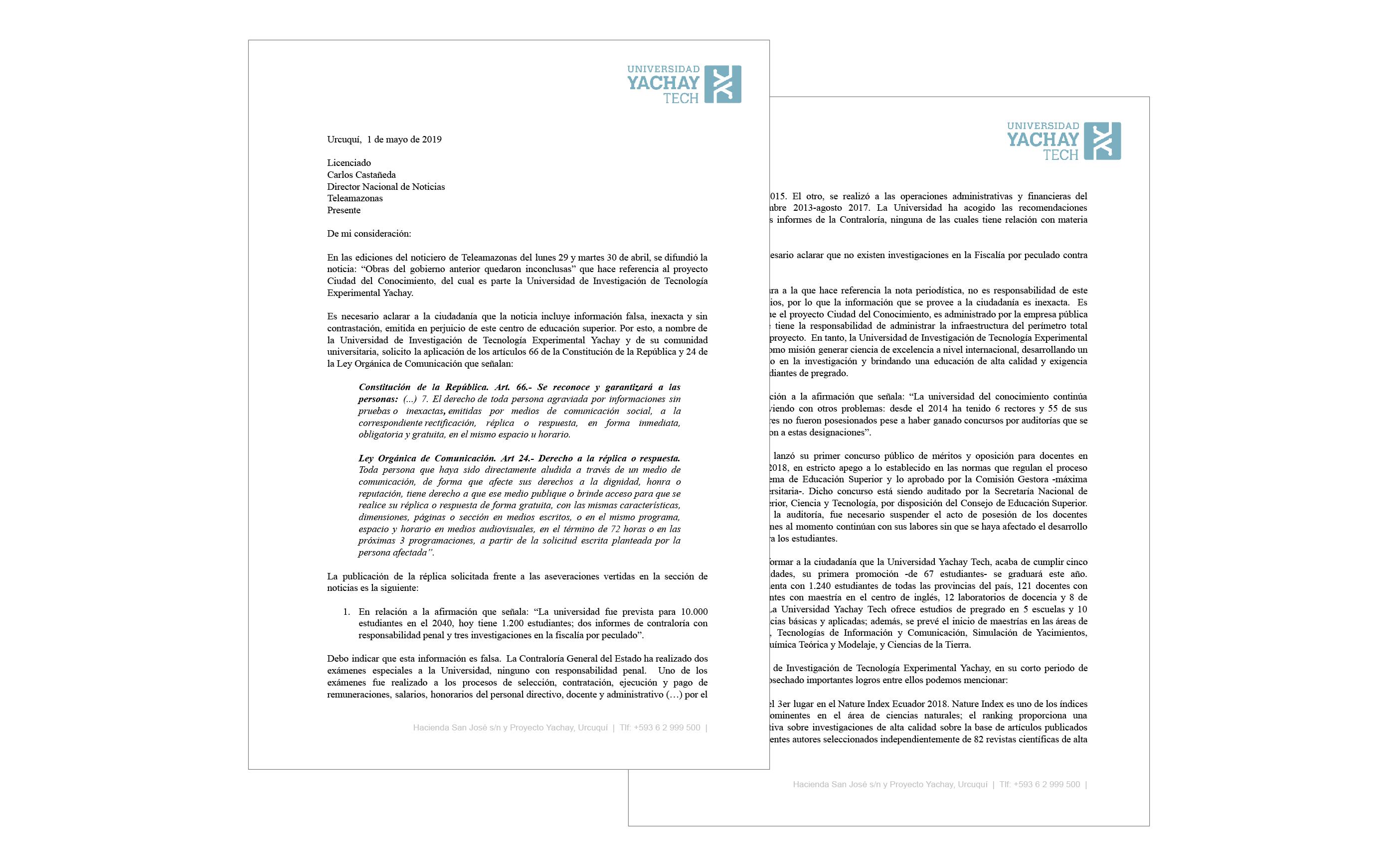 Universidad Yachay Tech hace solicitud de derecho a la réplica a Teleamazonas