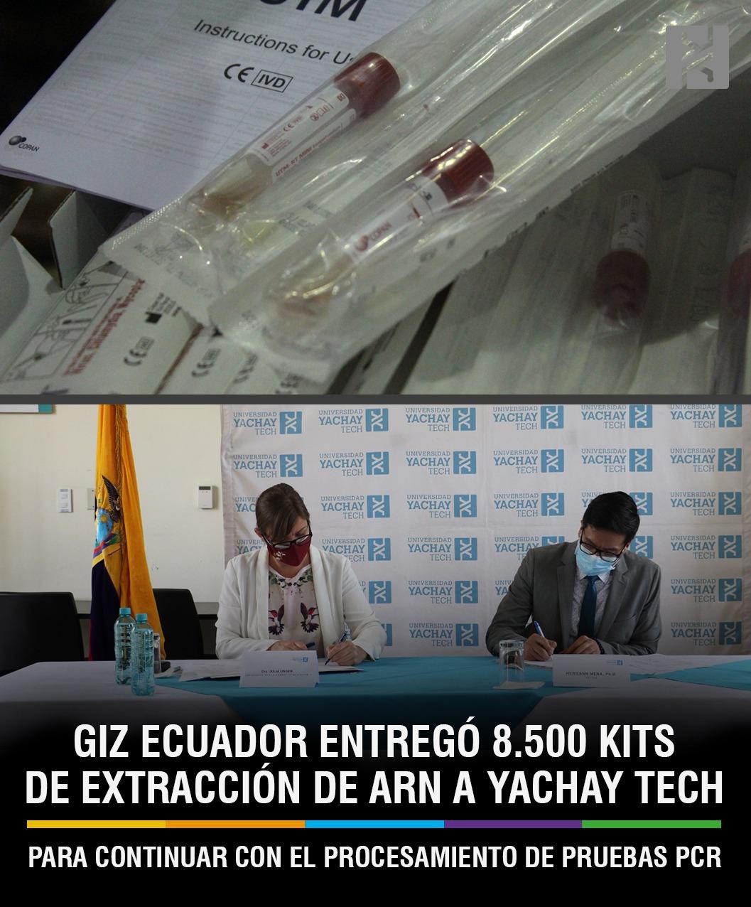 GIZ ECUADOR ENTREGÓ 8.500 KITS DE EXTRACCIÓN DE ARN A YACHAY TECH PARA CONTINUAR CON EL PROCESAMIENTO DE PRUEBAS PCR