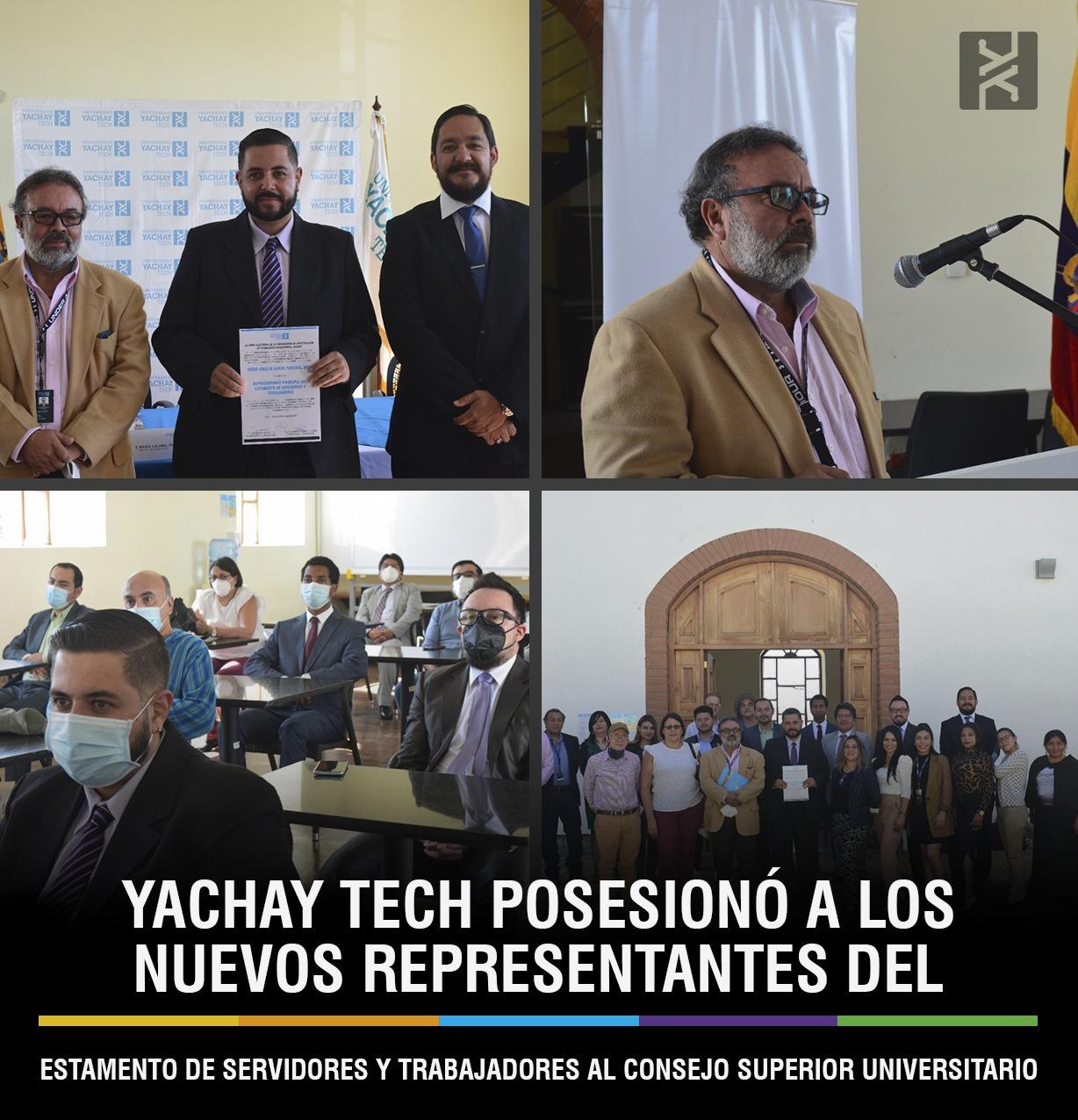 YACHAY TECH POSESIONÓ A LOS NUEVOS REPRESENTANTES DEL ESTAMENTO DE SERVIDORES Y TRABAJADORES AL CONSEJO SUPERIOR UNIVERSITARIO
